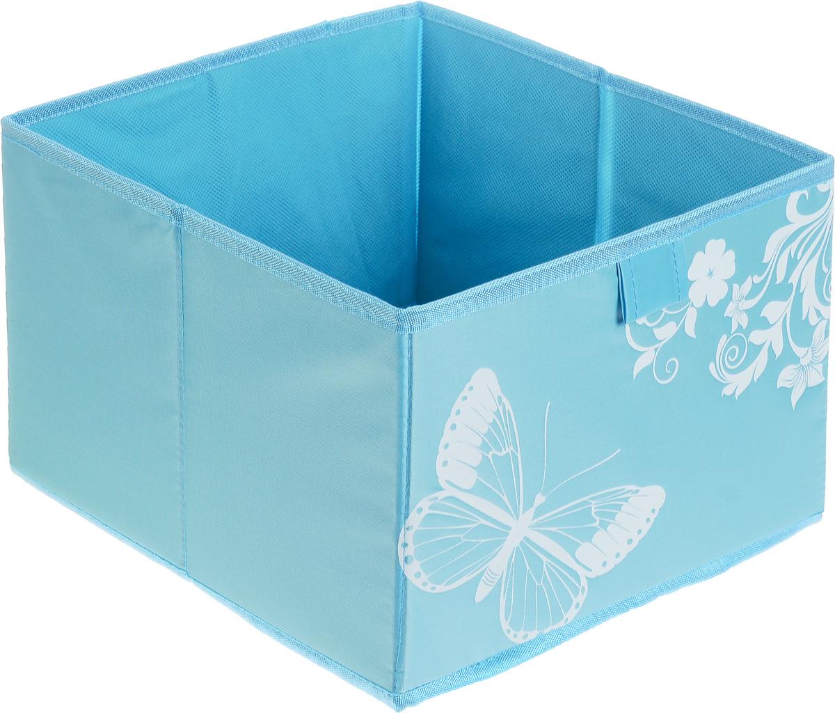 Коробка для хранения Hausmann Butterfly, цвет: голубой , 28 x 27 x 20 см4P-106-M4С_голубойКоробка для хранения вещей Hausmann Butterfly поможет легко организовать пространство в шкафу или в гардеробе. Изделие выполнено из нетканого материала и полиэстера. Коробка держит форму благодаря жесткой вставке из картона, которая устанавливается на дно. Боковая поверхность оформлена красивым принтом с изображением бабочек. В такой коробке удобно хранить нижнее белье, ремни и различные аксессуары.
