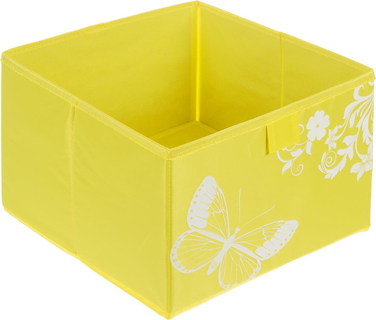 Коробка для хранения Hausmann Butterfly, цвет: желтый, 28 x 27 x 20 см1004900000360Коробка для хранения Hausmann поможет легко организовать пространство в шкафу или в гардеробе. Изделие выполнено из из нетканого материала и полиэстера. Коробка держит форму благодаря жесткой вставке из картона, которая устанавливается на дно. Боковая поверхность оформлена красивым принтом и изображением бабочки. В такой коробке удобно хранить одежду, нижнее белье, различные аксессуары.
