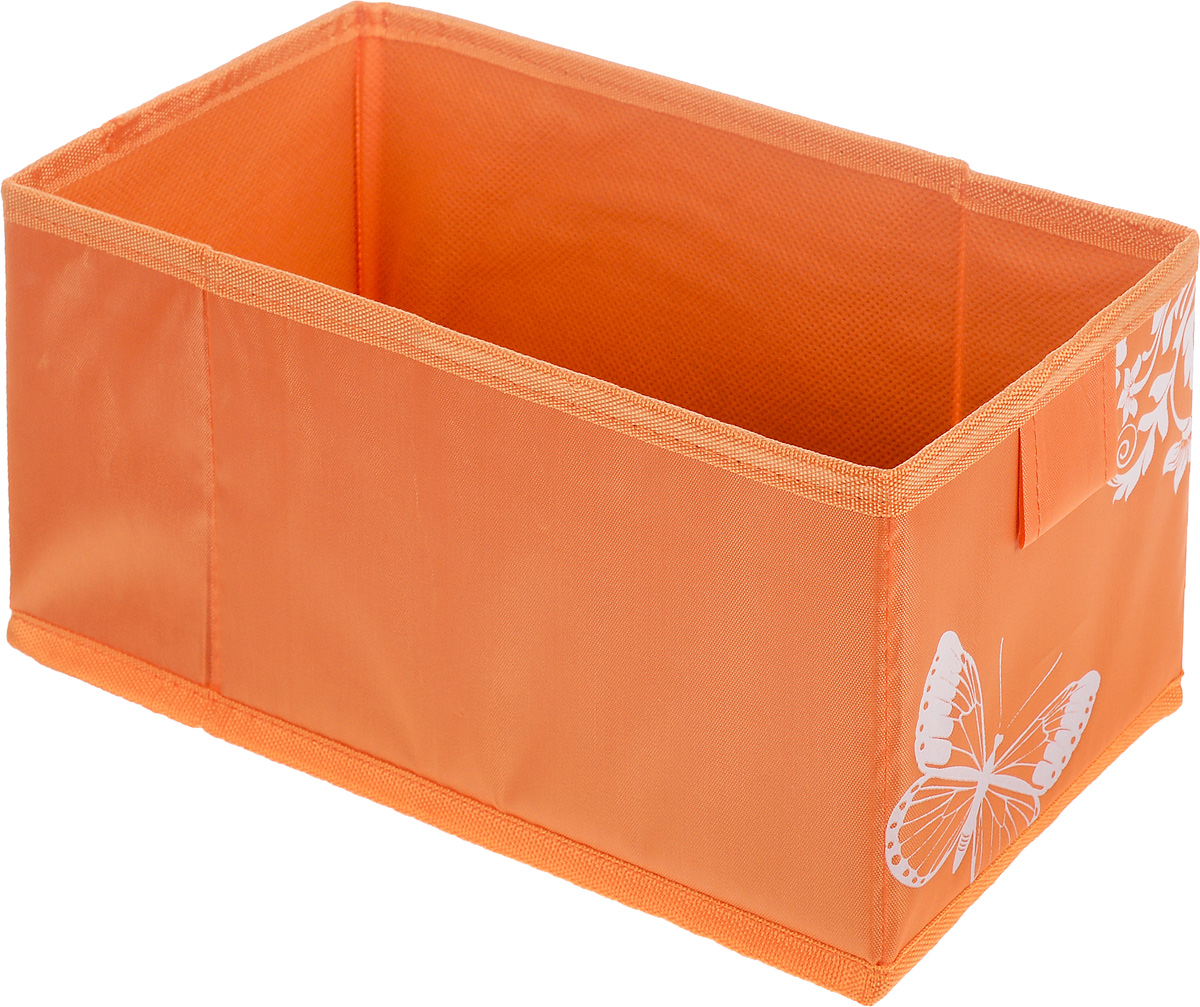 Коробка для хранения Hausmann Butterfly, цвет: оранжевый, 13 х 27 х 12,5 см74-0060Коробка для хранения Hausmann Butterfly поможет легко организовать пространство в шкафу или в гардеробе. Изделие выполнено из нетканого материала и полиэстера. Коробка держит форму благодаря жесткой вставке из картона, которая устанавливается на дно. Боковая поверхность оформлена красивым принтом с изображением бабочек.В такой коробке удобно хранить нижнее белье, ремни и различные аксессуары.