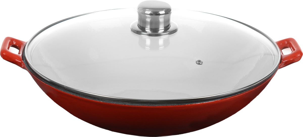 Сковорода-вок чугунная Mayer & Boch с крышкой, с эмалевым покрытием, 5,3 л94672Сковорода-вок Mayer & Boch, изготовленная из чугуна, идеально подходит для приготовления вкусных тушеных блюд. Изделие имеет внешнее и внутреннее эмалированное покрытие. Чугун является традиционным высокопрочным, экологически чистым материалом. Причем, чем дольше и чаще вы пользуетесь этой посудой, тем лучше становятся ее свойства. Высокая теплоемкость чугуна позволяет ему сильно нагреваться и медленно остывать, а это, в свою очередь, обеспечивает равномерное приготовление пищи. Чугун не вступает в какие-либо химические реакции с пищей в процессе приготовления и хранения, а плотное покрытие - безупречное препятствие для бактерий и запахов. Пища, приготовленная в чугунной посуде, благодаря экологической чистоте материала, не может нанести вред здоровью человека. Сковорода-вок оснащена двумя удобными ручками. Крышка также изготовлена из жаропрочного стекла, снабжена ободом из нержавеющей стали и пароотводом. Она плотно прилегает к краю посуды, сохраняя аромат блюд. Сковороду можно использовать на всех типах плит, включая индукционные, а также в духовке. Можно мыть в посудомоечной машине и хранить в холодильнике. Диаметр сковороды (по верхнему краю): 37 см. Высота стенки: 10 см. Ширина (с учетом ручек): 43 см.