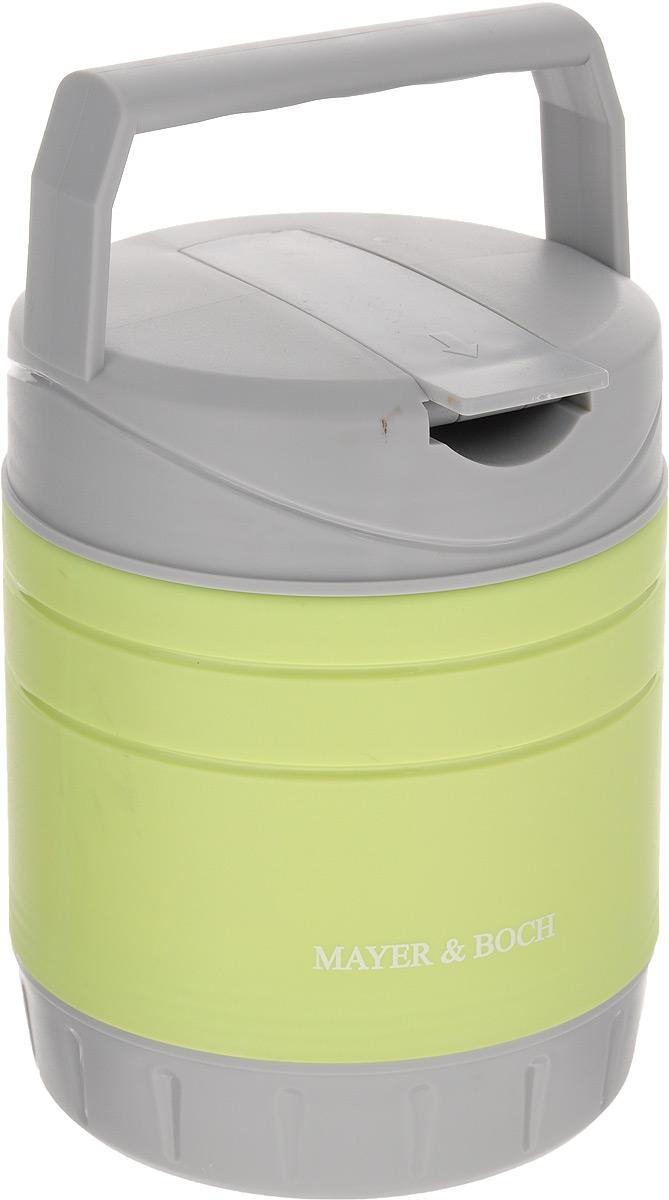 Термос пищевой Mayer & Boch, с контейнером, 1 лVT-1520(SR)Термос пищевой Mayer & Boch предназначен для длительного хранения горячих блюд. Корпус выполнен из полипропилена, внутренний резервуар - из высококачественной нержавеющей стали, не вступающей в реакцию с продуктами и не искажающей вкус приготовленных блюд. В комплекте предусмотрен пластиковый пищевой контейнер, а также ложка, которая хранится в специальном отделении в крышке контейнера. С помощью ручки термос удобно транспортировать. Данный термос обладает не только прекрасными термоизоляционными качествами, но и непревзойденной надежностью. Он идеально подойдет для обедов на работе или для отдыха на природе. Диаметр контейнера: 11 см. Высота контейнера: 6 см. Длина ложки: 18,2 см. Диаметр термоса: 12 см. Высота термоса (с учетом ручки и крышки): 23 см.