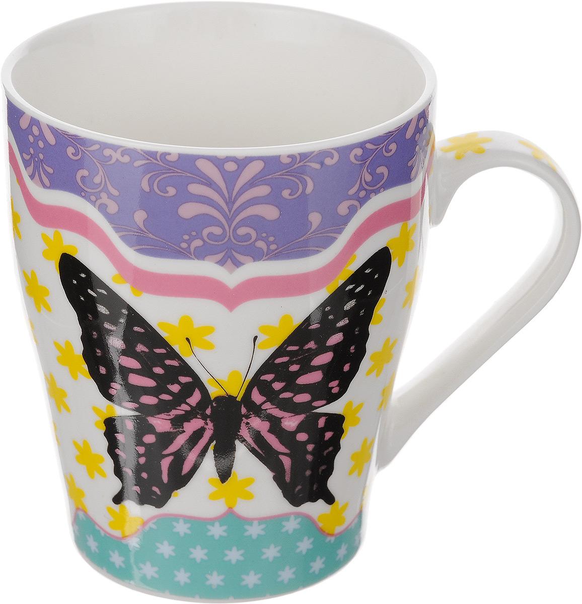 Кружка Loraine Бабочка, цвет: белый, розовый, 340 мл. 2445424454Кружка Loraine Бабочка выполнена из высококачественного костяного фарфора и оформлена стильным рисунком. Изящный дизайн придется по вкусу и ценителям классики, и тем, кто предпочитает утонченность и изысканность. Она настроит на позитивный лад и подарит хорошее настроение с самого утра. Диаметр кружки (по верхнему краю): 8 см.
