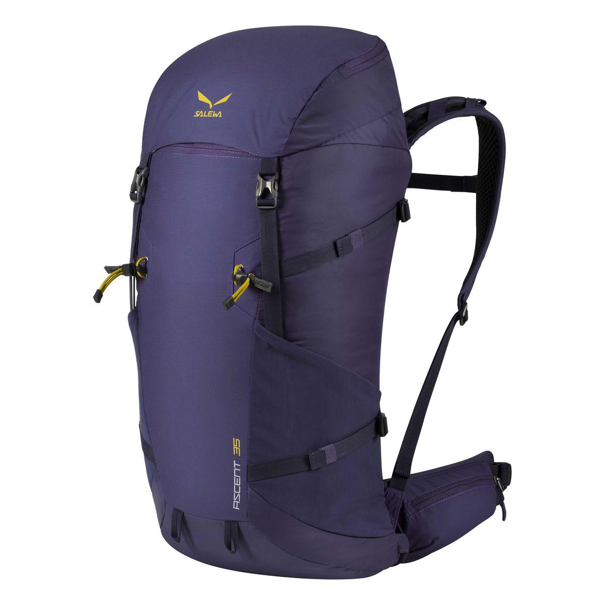 Рюкзак туристический Salewa Ascent 35, цвет: синий, 35 л1138_8680Новая современная модель рюкзака Salewa Ascent 35, который прекрасно подойдет как для однодневных так и для более длительных путешествий.Особенности:- петли для крепления ледоруба / лыжных палок- внутреннее отделение для хранения ценных вещей- боковые карманы- карман в набедренном поясе- петли для навески дополнительного снаряжения на набедренном поясе- подвесная система motionfit