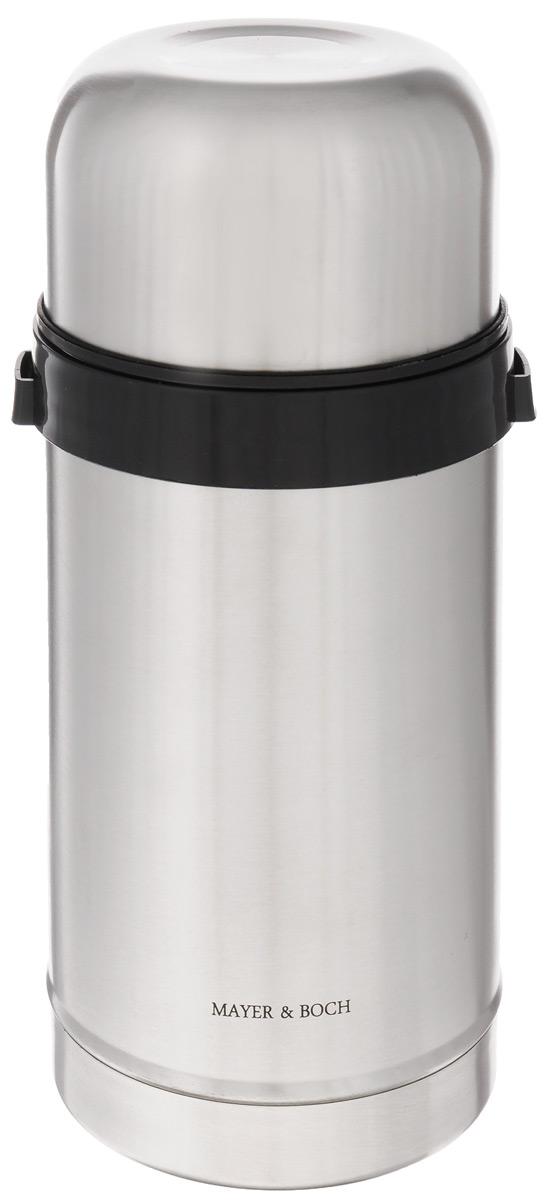 Термос пищевой Mayer & Boch, 1 лVT-1520(SR)Термос с широким горлом Mayer & Boch, изготовленный из высококачественной нержавеющей стали 18/10, прост в использовании и многофункционален. Изделие имеет двойные стенки, что позволяет содержимому долго оставаться горячим или холодным. Термос снабжен удобной крышкой-чашкой. Для удобной переноски предусмотрен специальный ремешок. Термос сохраняет температуру горячих или холодных продуктов до 12 часов. Крышка плотно закрывается. Не рекомендуется мыть в посудомоечной машине.Высота (с учетом крышки): 23 см.Диаметр горлышка: 8,5 см.Диаметр чашки: 10,5 см.Высота чашки: 6 см.