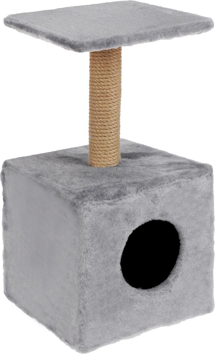 Игровой комплекс для кошек Меридиан, с полкой и домиком, цвет: светло-серый, бежевый, 32 х 32 х 63 см0120710Игровой комплекс для кошек Меридиан выполнен из высококачественного ДВП и ДСП и обтянут искусственным мехом. Изделие предназначено для кошек. Ваш домашний питомец будет с удовольствием точить когти о специальный столбик, изготовленный из джута. А отдохнуть он сможет либо на полке, находящейся наверху столбика, либо в расположенном внизу домике.Общий размер: 32 х 32 х 63 см.Размер полки: 31 х 31 см.Размер домика: 33 х 32 х 32 см.