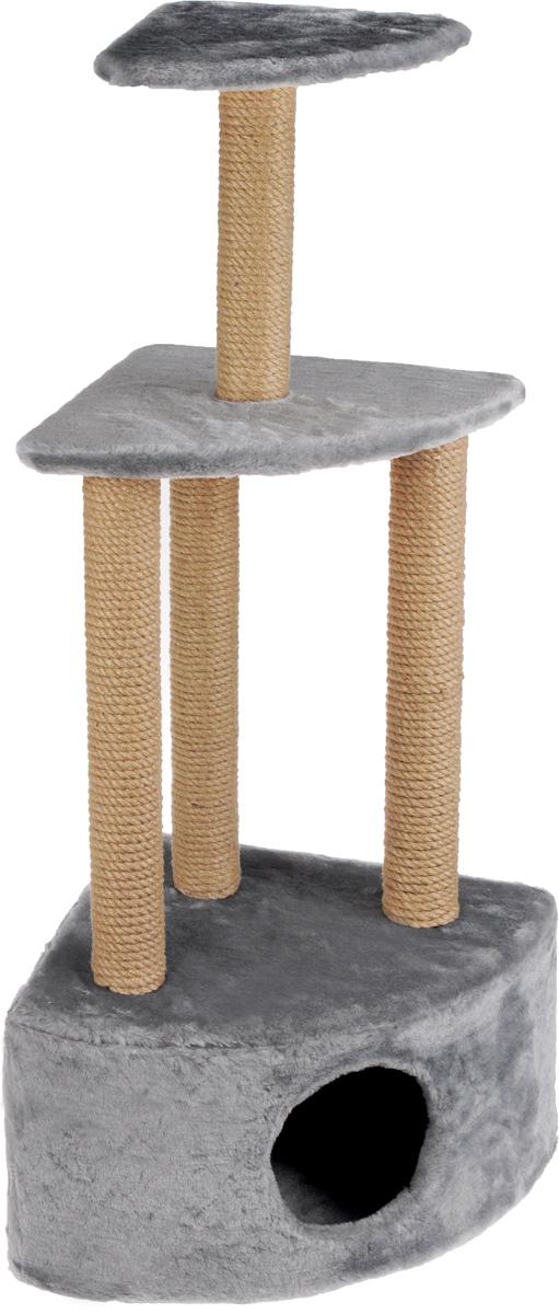 Игровой комплекс для кошек Меридиан, 3-ярусный, угловой, с домиком и когтеточкой, цвет: светло-серый, бежевый, 59 х 43 х 111 см0120710Игровой комплекс для кошек Меридиан выполнен из высококачественного ДВП и ДСП и обтянут искусственным мехом. Изделие предназначено для кошек. Комплекс имеет 3 яруса. Ваш домашний питомец будет с удовольствием точить когти о специальные столбики, изготовленные из джута. А отдохнуть он сможет либо на полках, либо в расположенном внизу домике.Общий размер: 59 х 43 х 111 см.Размер домика: 59 х 43 х 28 см.Размер большой полки: 48 х 35 см.Размер малой полки: 34 х 25 см.