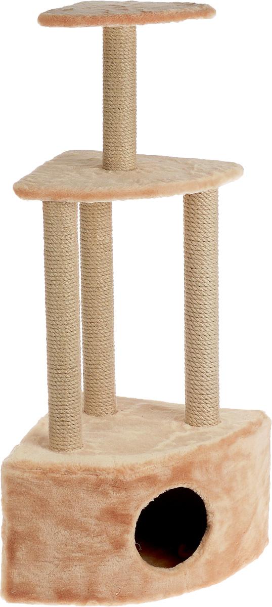 Игровой комплекс для кошек Меридиан, 3-ярусный, угловой, с домиком и когтеточкой, цвет: светло-коричневый, бежевый, 59 х 43 х 111 см4640000930677Игровой комплекс для кошек Меридиан выполнен из высококачественного ДВП и ДСП и обтянут искусственным мехом. Изделие предназначено для кошек. Комплекс имеет 3 яруса. Ваш домашний питомец будет с удовольствием точить когти о специальные столбики, изготовленные из джута. А отдохнуть он сможет либо на полках, либо в расположенном внизу домике.Общий размер: 59 х 43 х 111 см.Размер домика: 59 х 43 х 28 см.Размер большой полки: 48 х 35 см.Размер малой полки: 34 х 25 см.