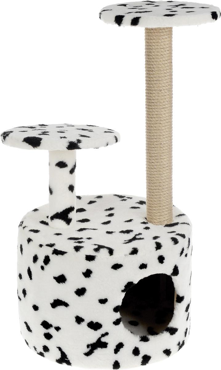 Игровой комплекс для кошек Меридиан, с когтеточкой и двумя полками, цвет: белый, черный, бежевый, 40 х 40 х 81 см102-1_бежевыйИгровой комплекс для кошек Меридиан выполнен из высококачественного ДВП и ДСП и обтянут искусственным мехом. Изделие предназначено для кошек. Ваш домашний питомец будет с удовольствием точить когти о специальный столбик, изготовленный из джута. А отдохнуть он сможет либо на полках разной высоты, либо в расположенном внизу домике.Общий размер: 40 х 40 х 81 см.Размер домика: 40 х 40 х 28 см.Высота полок: 51 см, 24 см.Диаметр полок: 27 см.