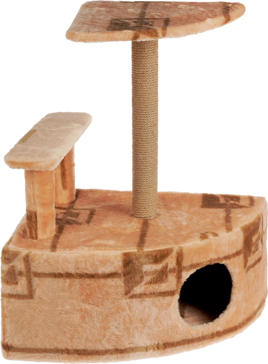 Игровой комплекс для кошек Меридиан, угловой, с домиком и когтеточкой, цвет: коричневый, бежевый, 58 х 48 х 79 см0120710Игровой комплекс для кошек Меридиан выполнен из высококачественного ДВП и ДСП и обтянут искусственным мехом. Изделие предназначено для кошек. Комплекс оснащен ступенькой. Ваш домашний питомец будет с удовольствием точить когти о специальный столбик, изготовленный из джута. А отдохнуть он сможет либо на полке, находящейся наверху столбика, либо в расположенном внизу домике.Общий размер: 58 х 48 х 79 см.Размер полки: 37 х 37 см.Высота ступеньки: 23 см.Размер домика: 58 х 48 х 28 см.