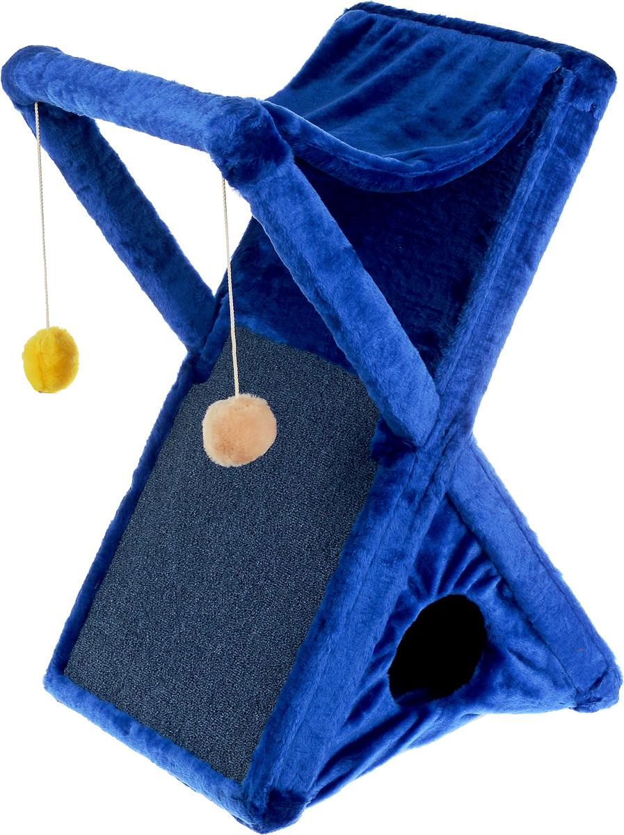 Когтеточка ЗооМарк Икс, цвет: синий, 48 х 41 х 74 см0120710Когтеточка ЗооМарк Икс поможет сохранить мебель и ковры в доме от когтей вашего любимца, стремящегося удовлетворить свою естественную потребность точить когти. Когтеточка изготовлена из дерева и обтянута мягким искусственным мехом. Внизу имеется домик для питомца, сверху лежак, по форме похожий на гамак. Сбоку расположена когтеточка, выполненная из прочного ковролина, а над ней 2 игрушки, которые привлекут внимание питомца. Товар продуман в мельчайших деталях и, несомненно, понравится вашей кошке. Всем кошкам необходимо стачивать когти. Когтеточка - один из самых необходимых аксессуаров для кошки. Она поможет вашему любимцу стачивать когти и при этом не портить вашу мебель.