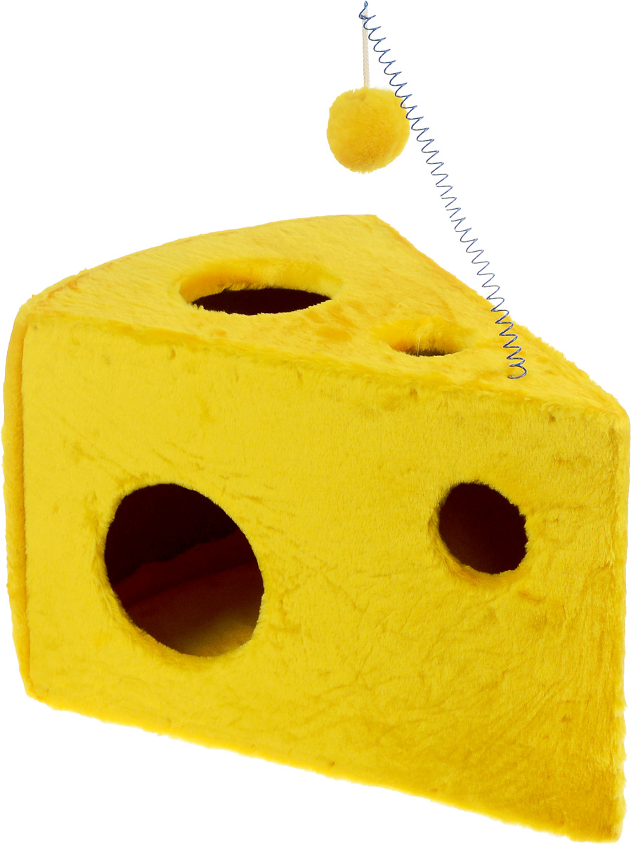 Домик-когтеточка ЗооМарк Кусочек сыра, 58 х 40 х 36 смKD036Домик-когтеточка для кошек ЗооМарк Кусочек сыра выполнен из дерева и обтянут искусственным мехом. Сзади расположена вставка из ковролина, которая используется в качестве когтеточки. Изделие имеет оригинальный дизайн и выглядит как кусочек сыра с дырками. Оригинальный домик-когтеточка - это отличное место, чтобы спрятаться. Также там можно хранить свои охотничьи трофеи. Домик оснащен подвесной игрушкой.