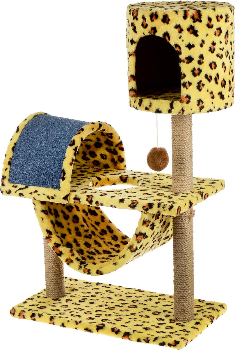 Игровой комплекс для кошек ЗооМарк Кузя, цвет: желтый, коричневый, черный, 69 х 37 х 102 см0120710Игровой комплекс для кошек ЗооМарк Кузя прекрасно подойдет для животного, которое длительное время остается одно дома. Обеспечивая уютное место для сна и отдыха, комплекс является отличной игровой площадкой для развлечения скучающего животного. Комплекс изготовлен из дерева и обтянут искусственным мехом. Когтеточка из ковролина на длительное время отвлечет вашу кошку от мягкой мебели и обоев в доме, а подвесная игрушка развлечет питомца. Комплекс имеет несколько ярусов и домик, в котором ваш питомец сможет отдохнуть после игр.Общий размер комплекса: 69 х 37 х 102 см.Размер домика: 31 х 31 х 29 см.