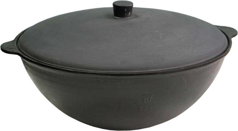 Чаша азиатская чугунная Балезино, с крышкой, 25 л920Азиатская чаша Балезино изготовлена из качественного литого чугуна и снабжена алюминиевой крышкой. В ней можно приготовить много самых разнообразнейших блюд восточной кухни, но, наверное, самое известное и распространенное блюдо, которое приготавливается в казане, это любимый многими плов.Чугунный казан хорош тем, что блюда в нем никогда не пригорают. Чугун при нагревании обеспечивает лучшее распределение тепла, даже при сравнении с современными материалами. И это его свойство позволяет приготовить вкусные блюда отменного качества. Еще одной важной особенностью чугунной чаши является то, что ее толстые стенки позволяют приготовленному блюду долго оставаться теплым.Можно использовать как на природе, так и в домашних условиях. Подходит для всех типов плит.
