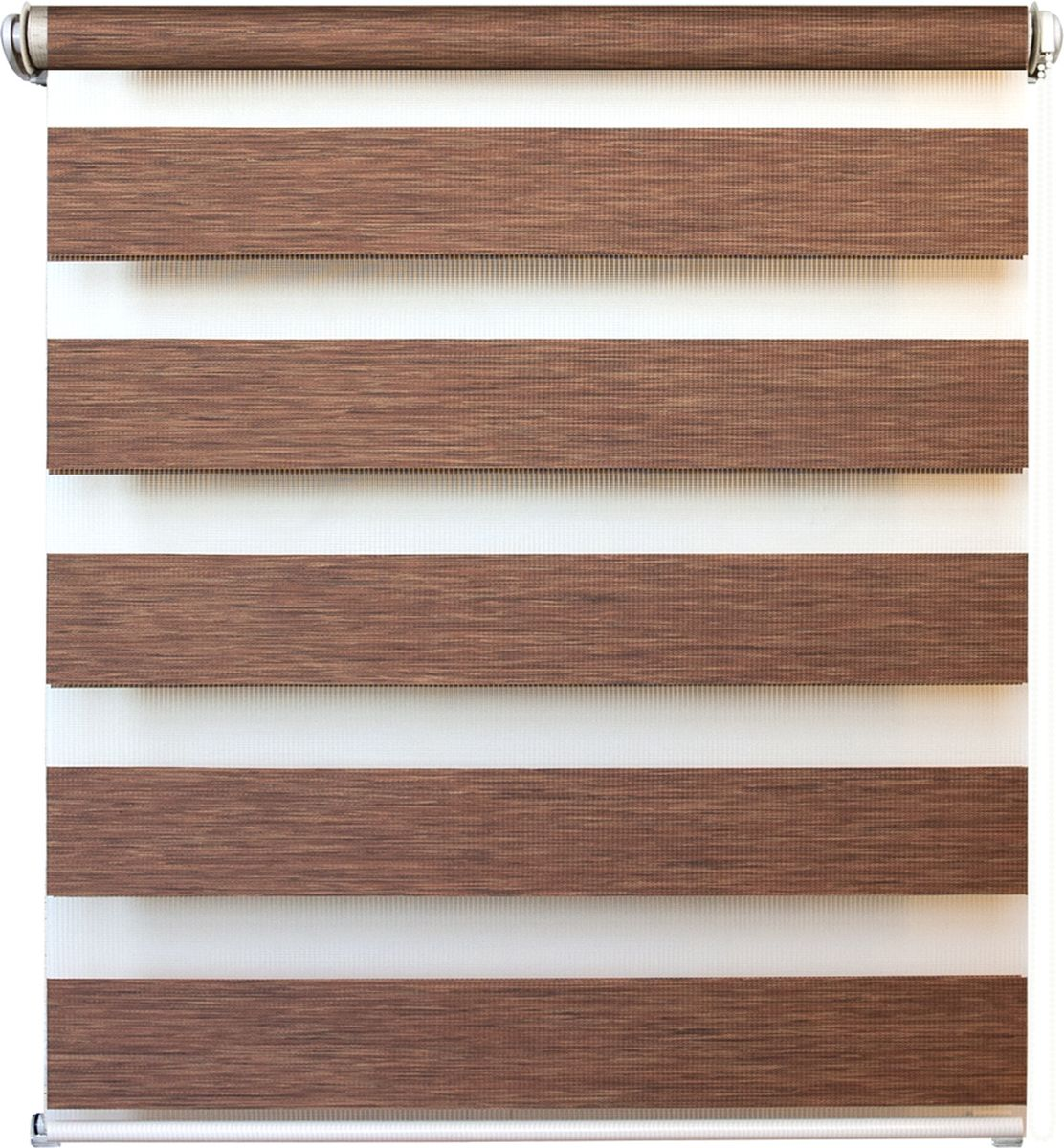 Штора рулонная день/ночь Уют Канзас, цвет: коричневый, 60 х 160 см62.РШТО.8922.060х160Штора рулонная день/ночь Уют Канзас выполнена из прочного полиэстера, в котором чередуются полосы различной плотности и фактуры. Управление двойным слоем ткани с помощью цепочки позволяет регулировать степень светопроницаемости шторы. Если совпали плотные полосы, то прозрачные будут открыты максимально. Это положение шторы называется День. Максимальное затемнение помещения достигается при полном совпадении полос разных фактур. Это положение шторы называется Ночь. Конструкция шторы также позволяет полностью свернуть полотно, обеспечив максимальное открытие окна. Рулонная штора - это разновидность штор, которая закрывает не весь оконный проем, а непосредственно само стекло. Такая штора очень компактна, что помогает сэкономить пространство. Универсальная конструкция позволяет монтировать штору на стену, потолок, деревянные или пластиковые рамы окон. В комплект входят кронштейны и нижний утяжелитель. Возможна установка с управлением цепочкой как справа, так и слева. Такая штора станет прекрасным элементом декора окна и гармонично впишется в интерьер любого помещения. Классический дизайн подойдет для гостиной, спальни, кухни, кабинета или офиса.