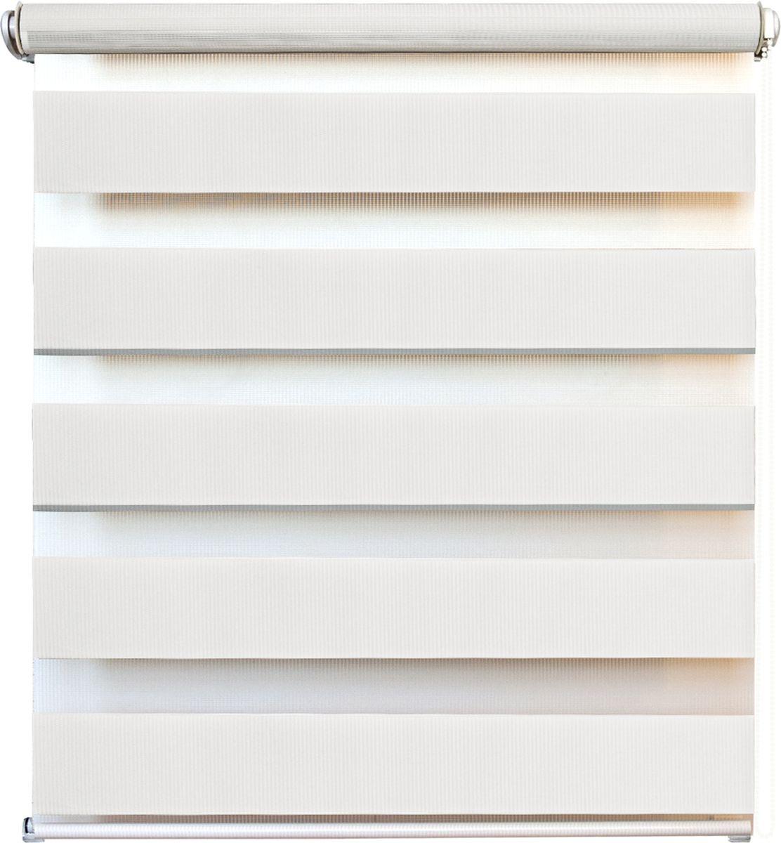 Штора рулонная день/ночь Уют Канзас, цвет: белый, 60 х 160 смRC-100BPCШтора рулонная день/ночь Уют Канзас выполнена из прочного полиэстера, в котором чередуются полосы различной плотности и фактуры. Управление двойным слоем ткани с помощью цепочки позволяет регулировать степень светопроницаемости шторы. Если совпали плотные полосы, то прозрачные будут открыты максимально. Это положение шторы называется День. Максимальное затемнение помещения достигается при полном совпадении полос разных фактур. Это положение шторы называется Ночь. Конструкция шторы также позволяет полностью свернуть полотно, обеспечив максимальное открытие окна. Рулонная штора - это разновидность штор, которая закрывает не весь оконный проем, а непосредственно само стекло. Такая штора очень компактна, что помогает сэкономить пространство. Универсальная конструкция позволяет монтировать штору на стену, потолок, деревянные или пластиковые рамы окон. В комплект входят кронштейны и нижний утяжелитель. Возможна установка с управлением цепочкой как справа, так и слева. Такая штора станет прекрасным элементом декора окна и гармонично впишется в интерьер любого помещения. Классический дизайн подойдет для гостиной, спальни, кухни, кабинета или офиса.
