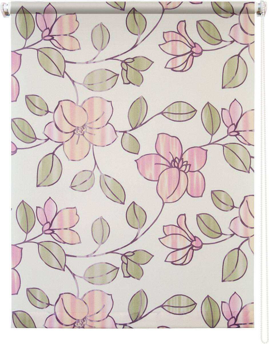 Штора рулонная Уют Камелия, цвет: бежевый, розовый, 90 х 175 см790009Штора рулонная Уют Камелия выполнена из прочного полиэстера с обработкой специальным составом, отталкивающим пыль. Ткань не выцветает, обладает отличной цветоустойчивостью и хорошей светонепроницаемостью. Изделие оформлено красивым цветочным рисунком, отлично подойдет для спальни, кухни, гостиной. Штора закрывает не весь оконный проем, а непосредственно само стекло и может фиксироваться в любом положении. Она быстро убирается и надежно защищает от посторонних взглядов. Компактность помогает сэкономить пространство. Универсальная конструкция позволяет крепить штору на раму без сверления, также можно монтировать на стену, потолок, створки, в проем, ниши, на деревянные или пластиковые рамы. В комплект входят регулируемые установочные кронштейны и набор для боковой фиксации шторы. Возможна установка с управлением цепочкой как справа, так и слева. Изделие при желании можно самостоятельно уменьшить. Такая штора станет прекрасным элементом декора окна и гармонично впишется в интерьер любого помещения.