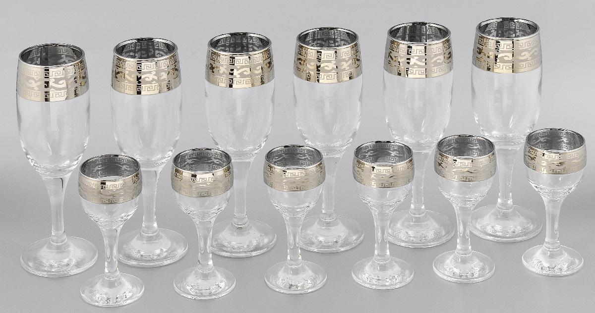 Набор бокалов и рюмок Гусь-Хрустальный Версаче, 12 предметовVT-1520(SR)Набор Гусь-Хрустальный Версаче состоит из 6 бокалов для игристых вин и шампанского и 6 рюмок. Изделия, выполненные из высококачественного натрий-кальций-силикатного стекла, украшены изысканным орнаментом. Такой набор прекрасно дополнит сервировку праздничного стола и станет желанным подарком в любом доме. Можно мыть в посудомоечной машине. Объем бокала: 200 мл. Диаметр бокала (по верхнему краю): 5 см. Высота бокала: 18,7 см. Объем рюмки: 50 мл. Диаметр рюмки (по верхнему краю): 4,5 см. Высота рюмки: 11,3 см. Уважаемые клиенты!Обращаем ваше внимание, что объем бокалов и рюмок измерен по факту, с учетом максимального наполнения до кромки. Также обращаем ваше внимание на незначительные изменения в дизайне товара, допускаемые производителем. Поставка осуществляется в зависимости от наличия на складе.