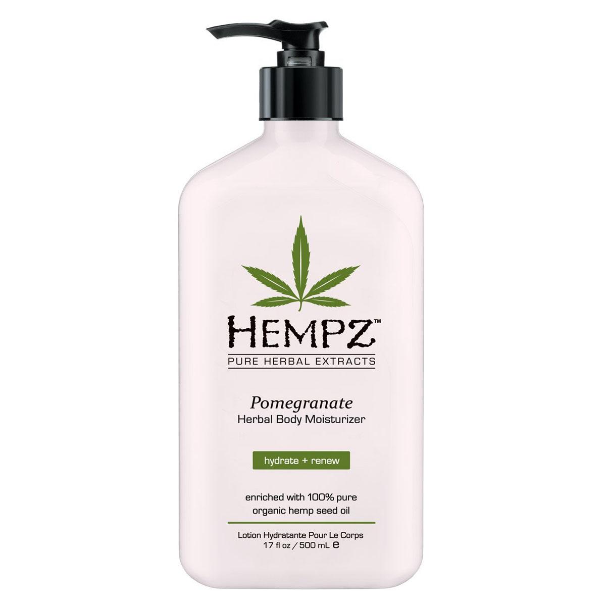 Hempz Молочко для тела увлажняющее с ганатом Pomegranate Herbal Body Moistyrizer 500 млAC-2233_серыйУвлажняющее молочко с гранатом для тела Pomegranate Herbal Body Moistyrizer Хемпц поможет сделать кожу нежной и шелковистой. Входящие в состав средства полипептиды стимулируют синтез коллагена, тонизируют кожу и делают ее более упругой, масло и экстрагированные компоненты семян конопли снабжают кожу питательными веществами и соединениями, экстракт корня женьшеня и масло ши оказывают охлаждающее, успокоительное и смягчающее воздействие, группа витаминов А, С и Е снижает влияние свободных радикалов и препятствуют образованию мелких морщин. Состав активных компонентов: конопляное и масло семян макадамии и дерева ши, экстракты семян конопли, женьшеня, календулы, ромашки, алое вера, комплекс трипептидов, группа витаминов А, С и Е.