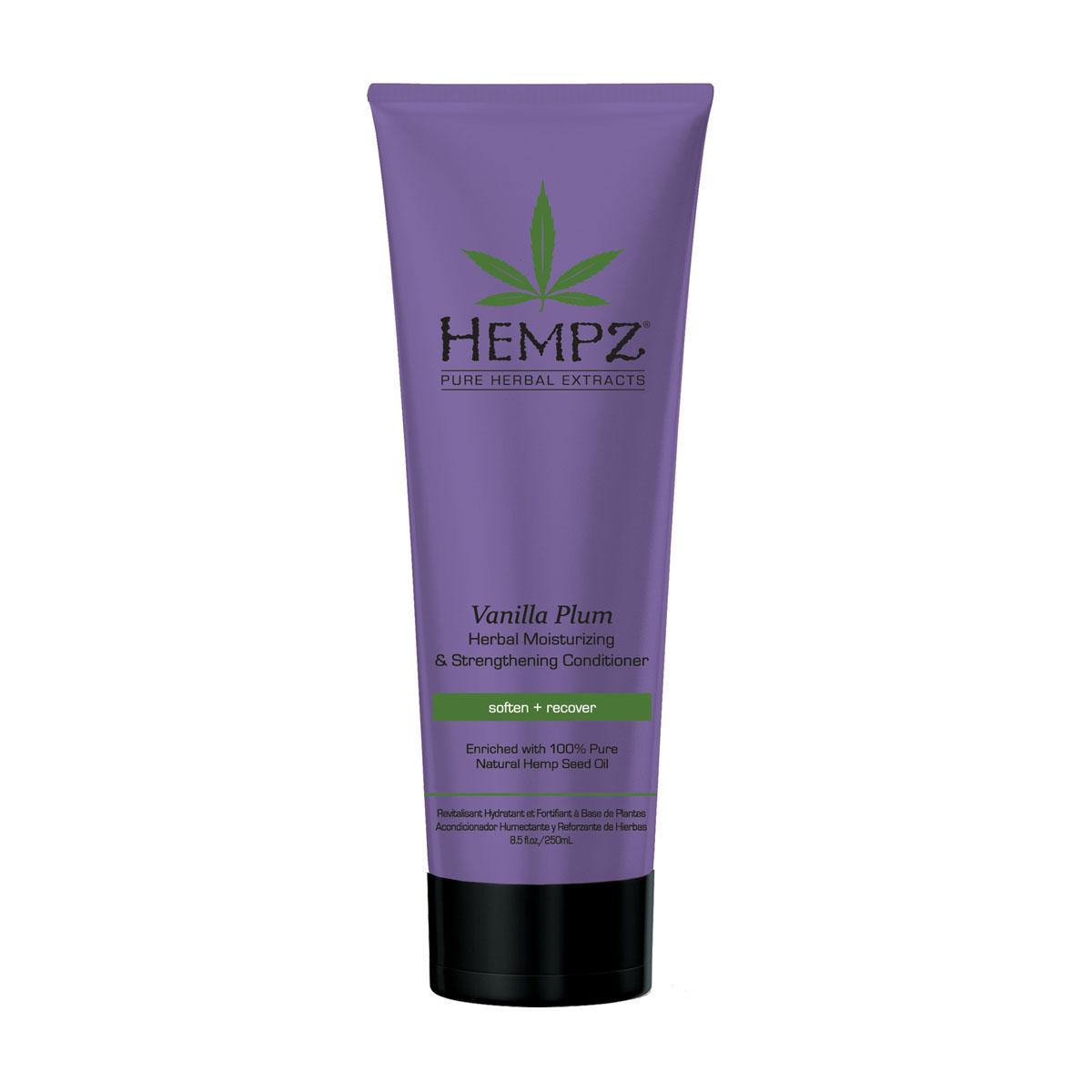 Hempz Кондиционер растительный увлажняющий и укрепляющий Ваниль и Слива Vanilla Plum Herbal Conditioner 265 млFS-00897Кондиционер средней степени увлажнения для ослабленных волос. Кондиционер заряжает Ваши волосы энергией, возвращает мягкость и блеск тусклым волосам. Без сульфатов для максимального сохранения цвета окрашенных волос.