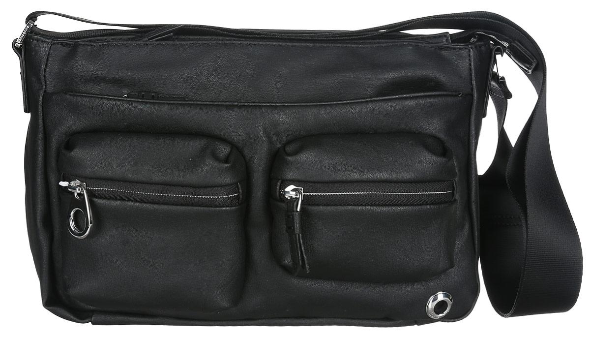 Сумка женская Samsonite, цвет: черный. 93V-09009KV996OPY/MПрактичная женская сумка Samsonite изготовлена из полиуретана, оформлена металлической фурнитурой с гравировкой в виде логотипа бренда.Изделие содержит одно основное отделение, закрывающееся на застежку-молнию. Внутри отделения расположены два накладных кармашка для мелочей и врезной карман на молнии. Лицевая сторона сумки дополнена двумя вместительными карманами на молнии и двумя объемными кармашками, каждый из которых закрывается на застежку-молнию. На задней стороне изделия расположены два врезных кармана на молниях.Сумка оснащена наплечным ремнем регулируемой длины.Стильный аксессуар позволит вам завершить образ и быть неотразимой.