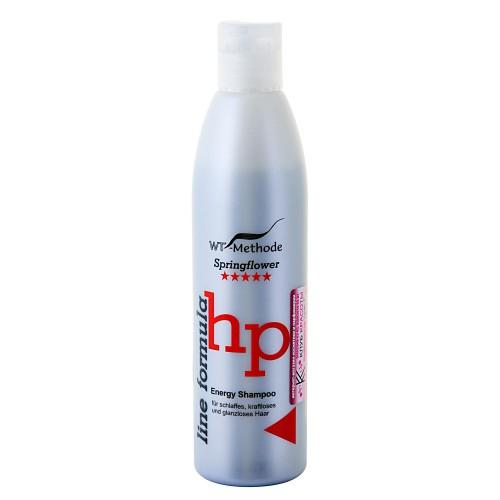 WT-Methode Шампунь для ослабленных, обессиленных и потерявших блеск волос Line formula Energy Shampoo Springflower 250 млKap312Energy Shampoo – шампунь, способный мгновенно преобразить волосы, подарив им силу и сияние. Если волосы обессилены, им требуются витамины и укрепление по всей длине, Energy Shampoo станет для них настоящим энергетическим коктейлем. Главная особенность шампуня – уникальный состав. Экстракт корня таёжного женьшеня увеличивает защитные функции кожи головы. Экстракт китайского чая и крапивы придает волосам блеск.Кроме того, в формулу Energy Shampoo входят протеины пшеницы, благодаря облегчённой структуре они легко проникают в верхние слои кожи головы и стимулируют поступление необходимых питательных веществ к корням волос.