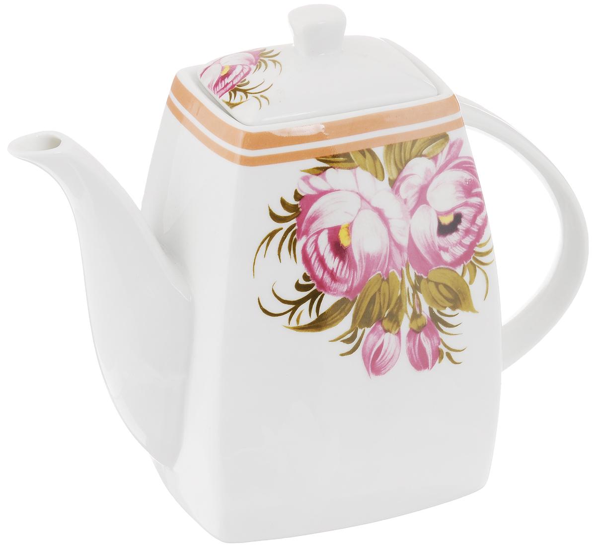 Чайник заварочный Loraine, 1 л. 2117321173Заварочный чайник Loraine изготовлен из высококачественной керамики и оформлен красочным изображением, которое придает чайнику особый шарм. Изделие удобно в использовании и понравится каждому. Такой чайник поможет вам в приготовлении вкусного и ароматного чая, а также станет украшением вашей кухни. Чайник упакован в подарочную коробку.Размер чайника (по верхнему краю): 8,3 см х 6,5 см. Размер дна: 11 см х 9 см. Высота чайника (без учета крышки): 15,5 см. Высота чайника (с учетом крышки): 18,5 см.
