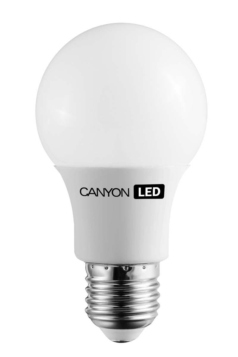 Лампа светодиодная Canyon, цоколь Е27, 6W, 2700КLkecLED5.5wCNE2730CANYON LED A60 E27 6W 220V 2700KЛампочка традиционной формы, излучает мягкий рассеянный свет. Имеет уникальный LED модуль COB ICE CANYON, позволяющий избежать чрезмерного нагревания. Предназначена для установки в светильниках с патроном E27. Доступна с матовой колбой. Чрезвычайно низкое энергопотребление позволяет сэкономить до 90% энергии в сравнении с традиционными лампами накаливания