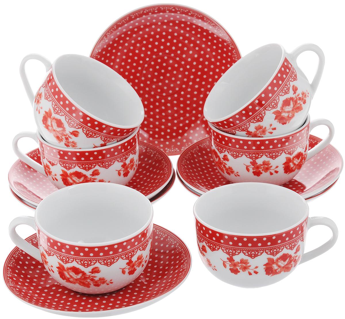 Набор чайный Loraine, цвет: белый, красный, 12 предметов. 2590725907Чайный набор Loraine состоит из 6 чашек и 6 блюдец. Изделия выполнены из высококачественного фарфора и оформлены ярким рисунком. Такой набор прекрасно дополнит сервировку стола к чаепитию, а также станет замечательным подарком для ваших друзей и близких. Объем чашки: 220 мл. Диаметр чашки по верхнему краю: 9 см. Высота чашки: 6,2 см. Диаметр блюдца: 14,5 см.Высота блюдца: 2,3 см.