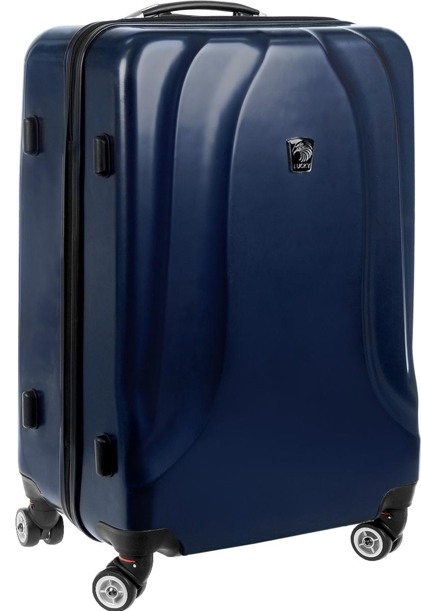 Чемодан Lucky Club, цвет: темно-синий, 65 л. SK802 60CM332515-2800Чемодан Lucky Club, выполненный из прочного пластика, прекрасно подойдет для путешествий. Изделие имеет жесткую форму. Материал внутренней отделки - полиэстер серого цвета. Чемодан вместителен, он содержит продуманную внутреннюю организацию, которая позволяет удобно разложить вещи. Чемодан закрывается по периметру на застежку-молнию с двумя бегунками. Внутри содержится 2 отделения. Большое отделение для хранения одежды оснащено перекрещивающимися багажными ремнями, которые соединяются при помощи пластиковой застежки. Второе отделение - на молнии с двумя бегунками. Для удобной перевозки чемодан оснащен четырьмя колесами, которые обеспечивают легкость перемещения в любом направлении. Телескопическая металлическая ручка выдвигается нажатием на кнопку и фиксируется в одном положении. Сверху и сбоку предусмотрены ручки для поднятия чемодана. Специальные пластиковые ножки на боковой стороне защищают от загрязнений. Чемодан Lucky Club идеально подходит для поездок и путешествий. Он вместит все необходимые вещи и станет незаменимым аксессуаром во время поездок. Размер корпуса чемодана (ДхШхВ): 45 x 25 х 60 см. Высота чемодана (с учетом колес и максимально выдвинутой ручки): 105 см. Высота выдвижной ручки: 45 см. Диаметр колеса: 4,5 см.Вес чемодана 3,665 кг.