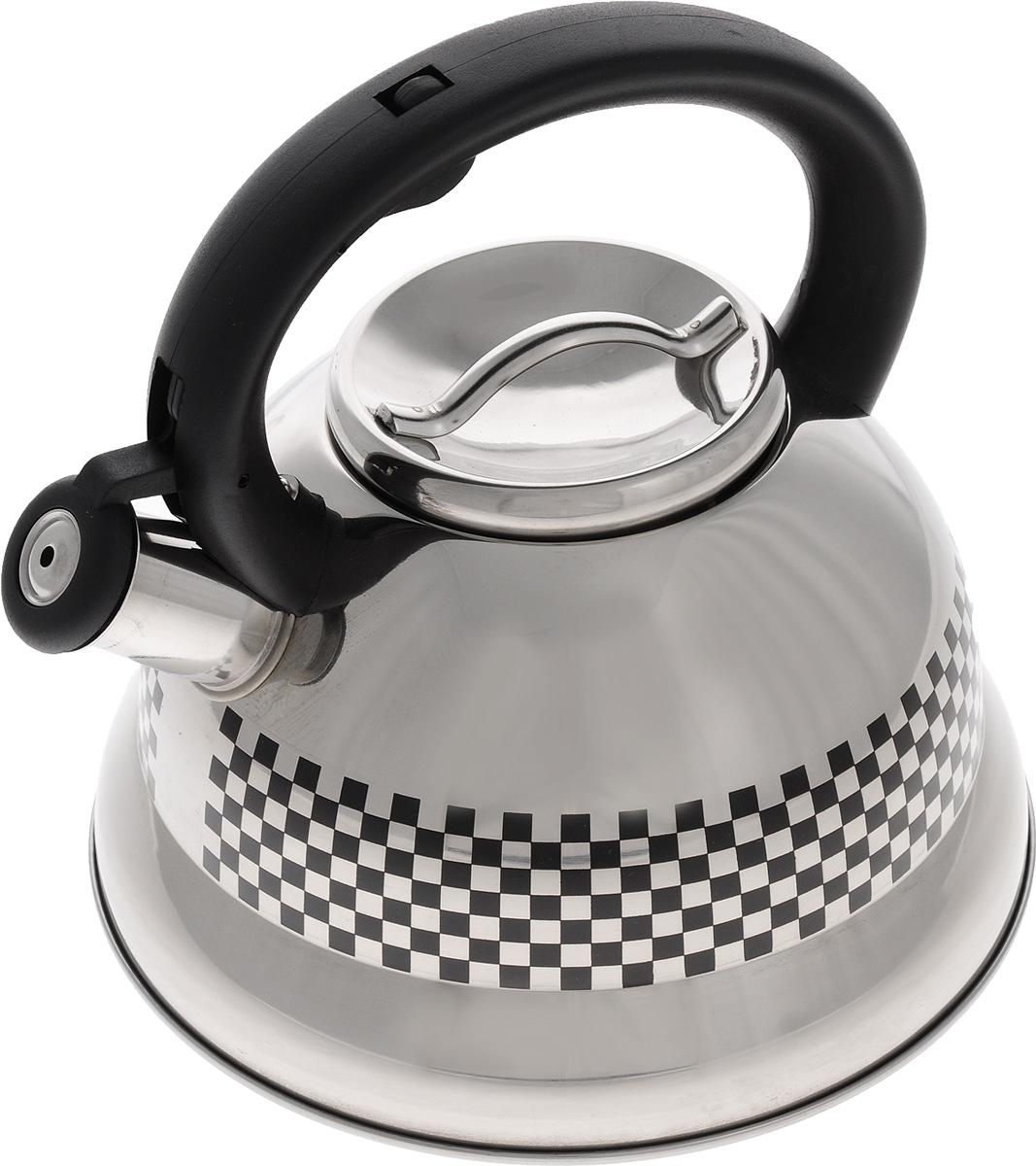 Чайник Mayer & Boch, со свистком, 2,6 л. 2417554 009312Чайник Mayer & Boch выполнен из высококачественной нержавеющей стали, что делает его весьма гигиеничным и устойчивым к износу при длительном использовании. Носик чайника оснащен откидным свистком, звуковой сигнал которого подскажет, когда закипит вода. Свисток открывается нажатием кнопки на ручке. Фиксированная ручка, изготовленная из прочного пластика, делает использование чайника очень удобным и безопасным. Поверхность чайника гладкая, что облегчает уход за ним. Эстетичный и функциональный, такой чайник будет оригинально смотреться в любом интерьере. Чайник пригоден для всех типов плит, включая индукционные. Можно мыть в посудомоечной машине.Высота чайника (без учета ручки и крышки): 12 см.Высота чайника (с учетом ручки и крышки): 22,5 см.Диаметр чайника (по верхнему краю): 10 см.