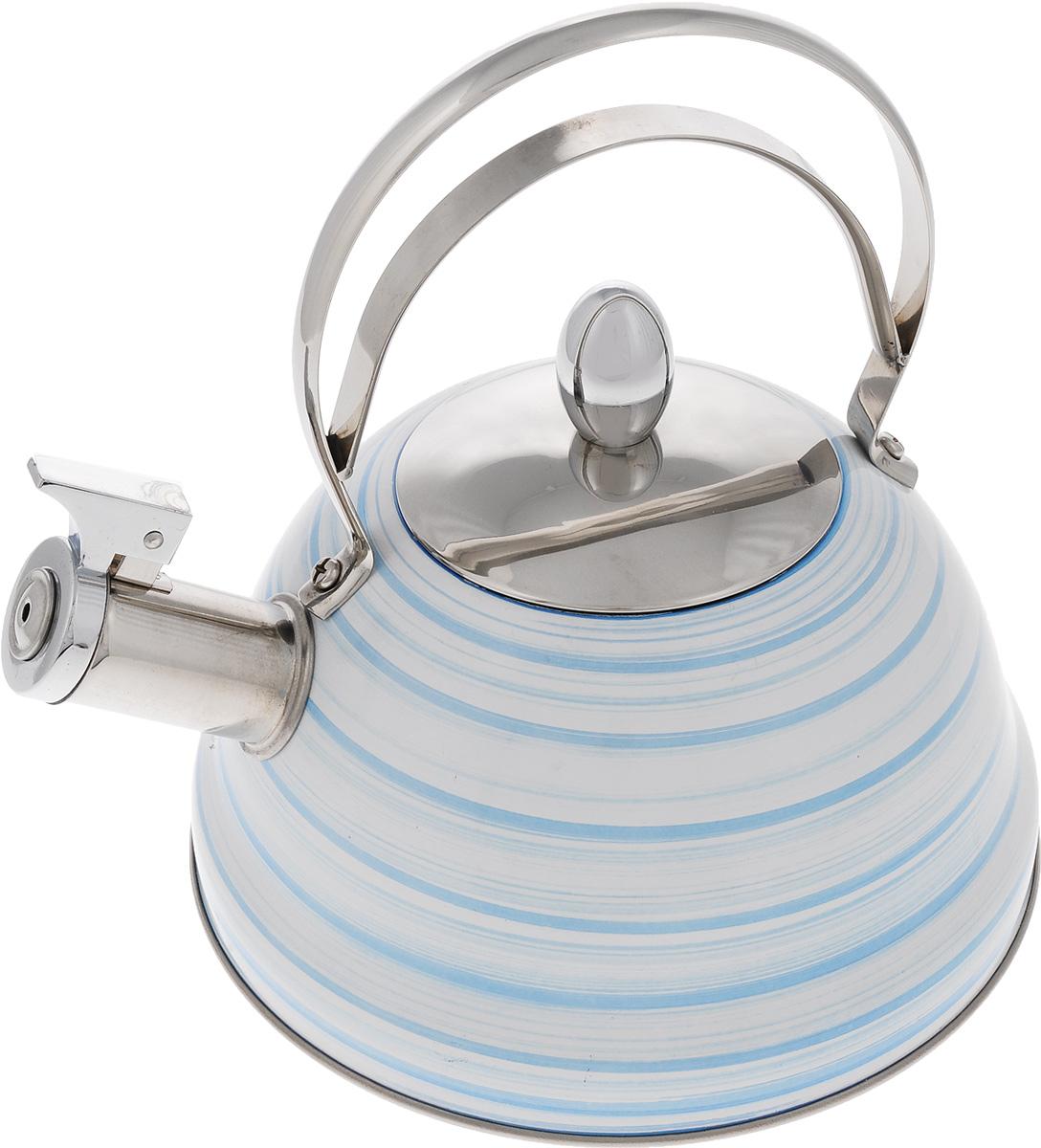 Чайник Mayer & Boch, со свистком, цвет: белый, голубой, стальной, 2,8 л. 214201161Чайник Mayer & Boch выполнен из высококачественной нержавеющей стали, что делает его весьма гигиеничным и устойчивым к износу при длительном использовании. Капсулированное дно с прослойкой из алюминия обеспечивает наилучшее распределение тепла. Носик чайника оснащен насадкой-свистком, звуковой сигнал которого подскажет, когда закипит вода. Фиксированная ручка из нержавеющей стали, делает использование чайника очень удобным и безопасным. Поверхность чайника гладкая, что облегчает уход за ним. Эстетичный и функциональный, с эксклюзивным дизайном, чайник будет оригинально смотреться в любом интерьере.Подходит для всех типов плит, включая индукционные. Можно мыть в посудомоечной машине. Высота чайника (без учета ручки и крышки): 10,5 см.Высота чайника (с учетом ручки и крышки): 23 см.Диаметр чайника (по верхнему краю): 10 см.