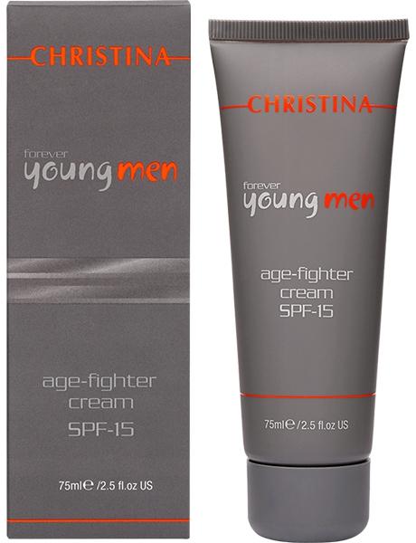 Christina Крем против старения для мужчин Forever Young Age Fighter Cream SPF15 75 млA8794700Крем против старения для мужчин SPF15 Christina Forever Young Age Fighter Cream SPF-15. Легкий, не оставляющий жирного блеска, увлажняющий крем содержит пептиды, способствующие восстановлению и увлажнению кожи, аминокислоту MDM, улучшающую цвет кожи, а также новейшие УФ-фильтры для максимальной защиты от солнца.В результате крем не только эффективно омолаживает кожу, но и предупреждает ее старение.
