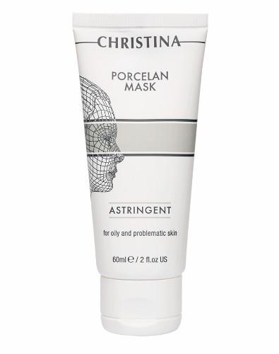 Christina Поросуживающая маска Порцелан для жирной и проблемной кожи Porcelan Astrigent Porcelan Mask 60 млВРС75//7290100365793Поросуживающая маска Порцелан для жирной и проблемной кожи Christina Porcelan Astrigent Porcelan Mask предназначена для кожи с расширенными порами и акне. Она дезинфицирует, тонизирует и осветляет кожу (каолин — белая глина из Японии, оксид цинка, биологическая сера, камфора). Триклозан оказывает выраженный противовоспалительный эффект. Морской коллаген и гиалуроновая кислота увлажняют, а экстракт мимозы и масло эвкалипта успокаивают кожу.Маска восстанавливает кислотно-щелочной баланс, нормализует секрецию сальных желез.