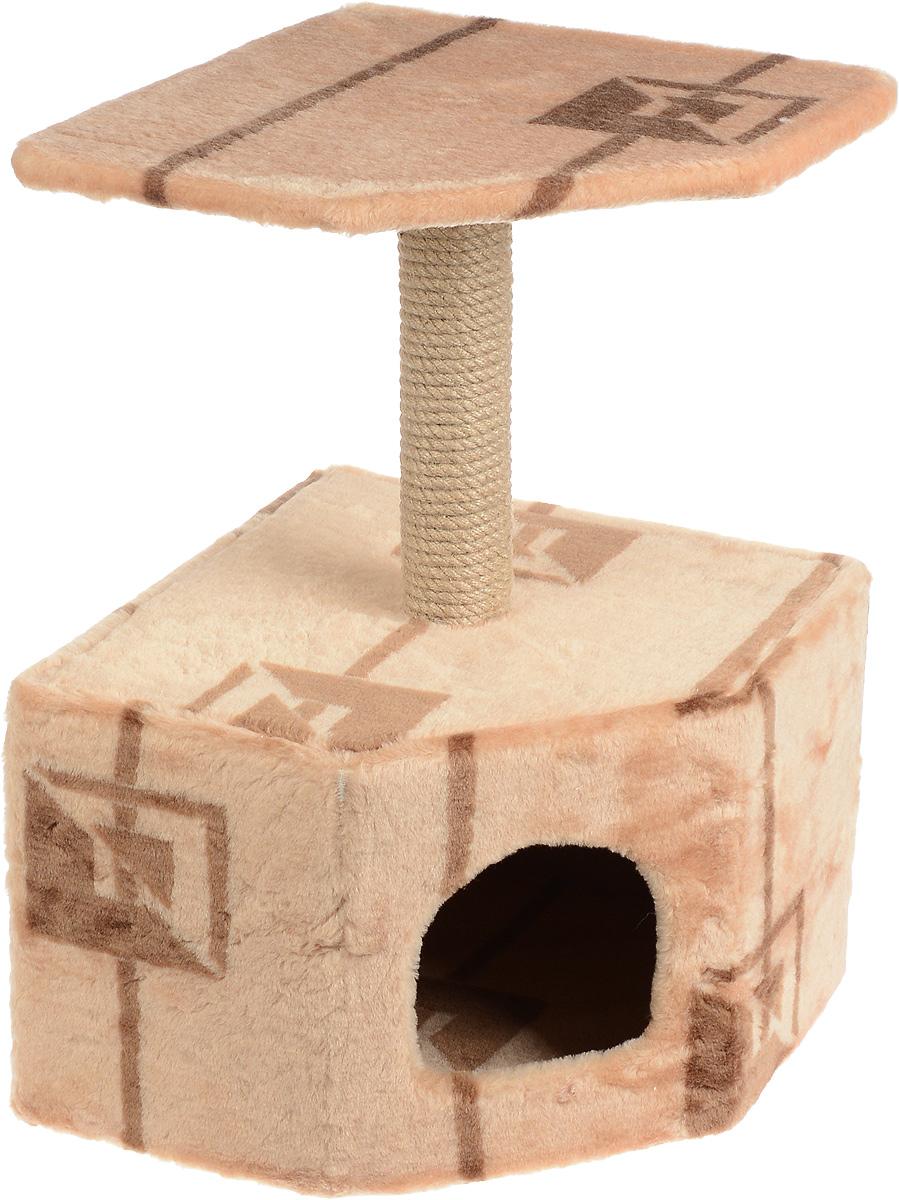 Игровой комплекс для кошек Меридиан, с домиком и когтеточкой, цвет: коричневый, бежевый, 39 х 39 х 57 см0120710Игровой комплекс для кошек Меридиан выполнен из высококачественного ДВП и ДСП и обтянут искусственным мехом. Изделие предназначено для кошек. Ваш домашний питомец будет с удовольствием точить когти о специальный столбик, изготовленный из джута. А отдохнуть он сможет либо на полке, находящейся наверху столбика, либо в расположенном внизу домике.Общий размер: 39 х 39 х 57 см.Размер полки: 38 х 38 см.Размер домика: 39 х 39 х 28 см.