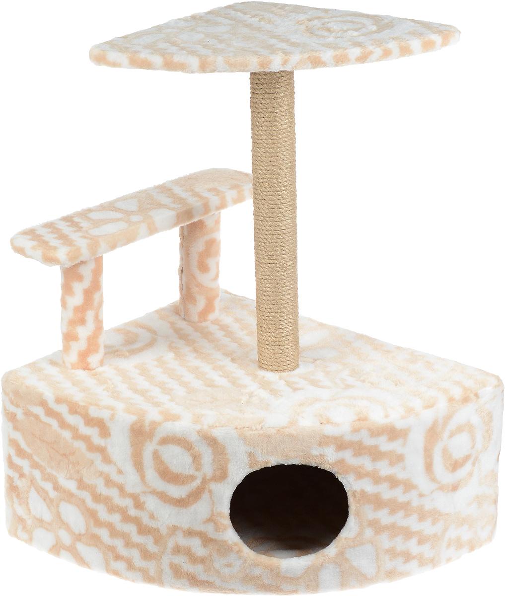 Игровой комплекс для кошек Меридиан, угловой, с домиком и когтеточкой, цвет: бежевый, белый, 58 х 48 х 79 см0120710Игровой комплекс для кошек Меридиан выполнен из высококачественного ДВП и ДСП и обтянут искусственным мехом. Изделие предназначено для кошек. Комплекс оснащен ступенькой. Ваш домашний питомец будет с удовольствием точить когти о специальный столбик, изготовленный из джута. А отдохнуть он сможет либо на полке, находящейся наверху столбика, либо в расположенном внизу домике.Общий размер: 58 х 48 х 79 см.Размер полки: 37 х 37 см.Высота ступеньки: 23 см.Размер домика: 58 х 48 х 28 см.