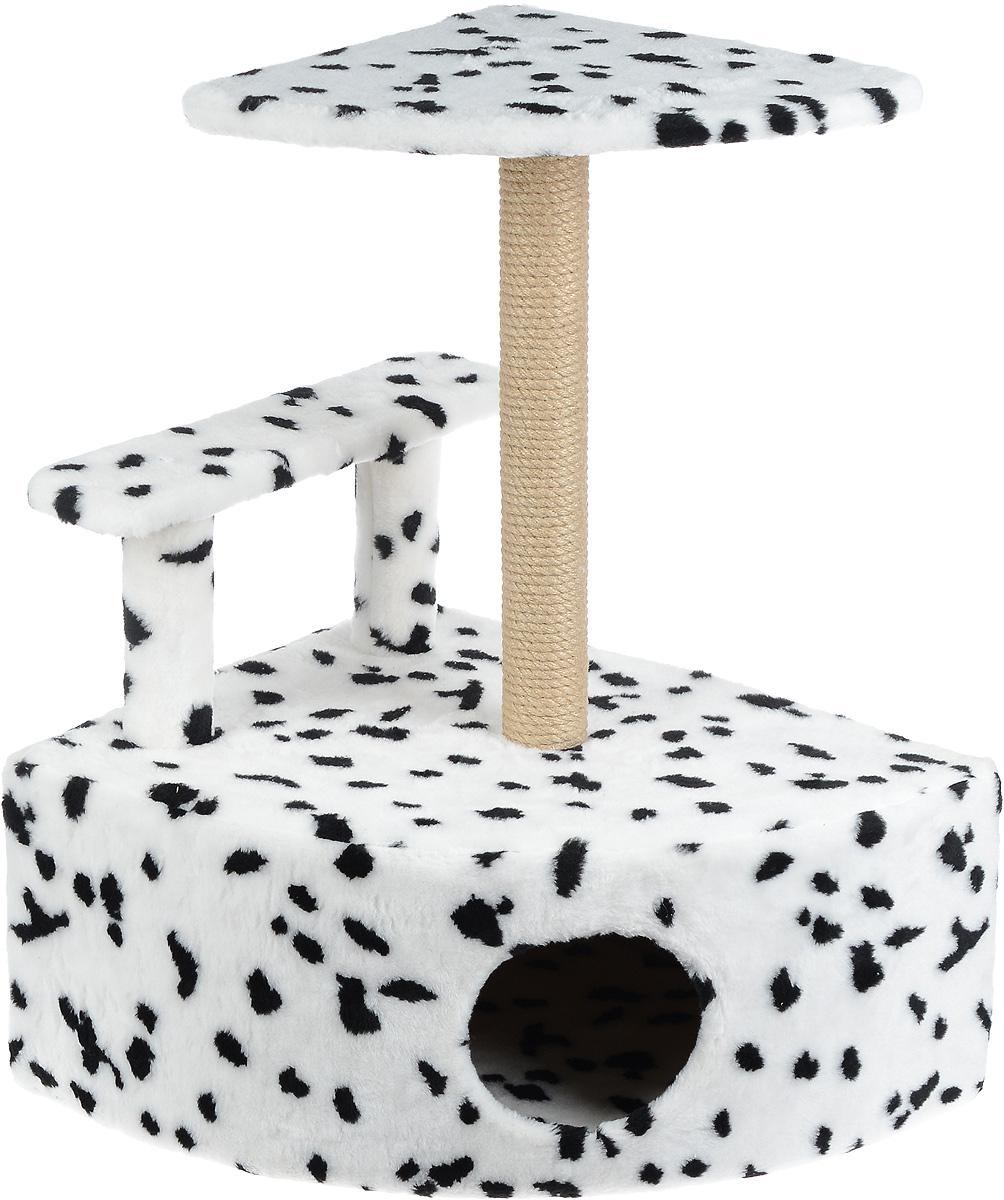 Игровой комплекс для кошек Меридиан, угловой, с домиком и когтеточкой, цвет: белый, черный, бежевый, 58 х 48 х 79 см0120710Игровой комплекс для кошек Меридиан выполнен из высококачественного ДВП и ДСП и обтянут искусственным мехом. Изделие предназначено для кошек. Комплекс оснащен ступенькой. Ваш домашний питомец будет с удовольствием точить когти о специальный столбик, изготовленный из джута. А отдохнуть он сможет либо на полке, находящейся наверху столбика, либо в расположенном внизу домике.Общий размер: 58 х 48 х 79 см.Размер полки: 37 х 37 см.Высота ступеньки: 23 см.Размер домика: 58 х 48 х 28 см.