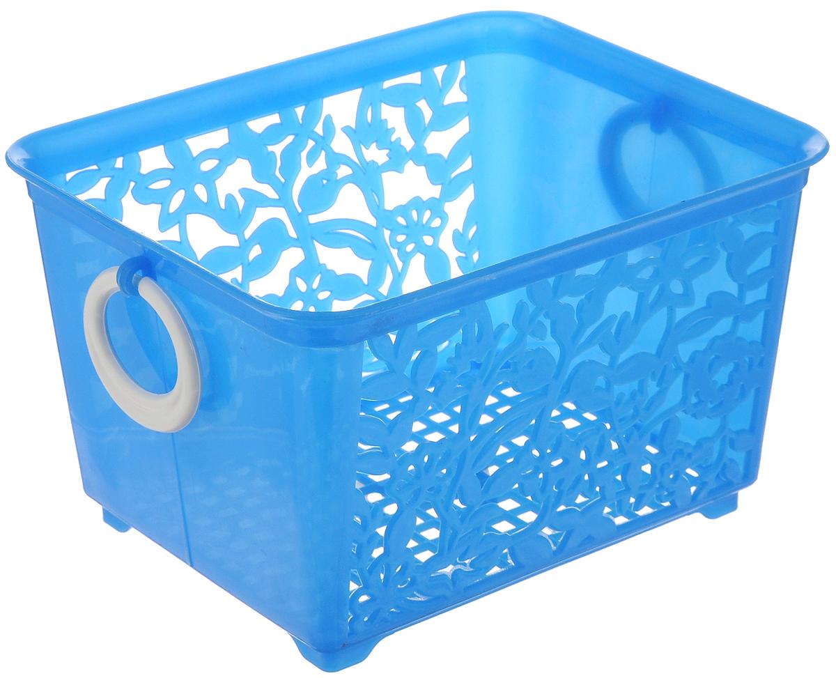 Корзина для мелочей Sima-land, цвет: голубой, 14 х 11,5 х 8,5 см09840-20.000.00Корзина Sima-land, изготовленная из пластика, предназначена для хранения мелочей в ванной, на кухне или гараже. Позволяет хранить мелкие вещи, исключая возможность их потери. Корзина с двух сторон декорирована резным узором в виде цветов и дополнена решетчатым дном. Имеет две удобные ручки.