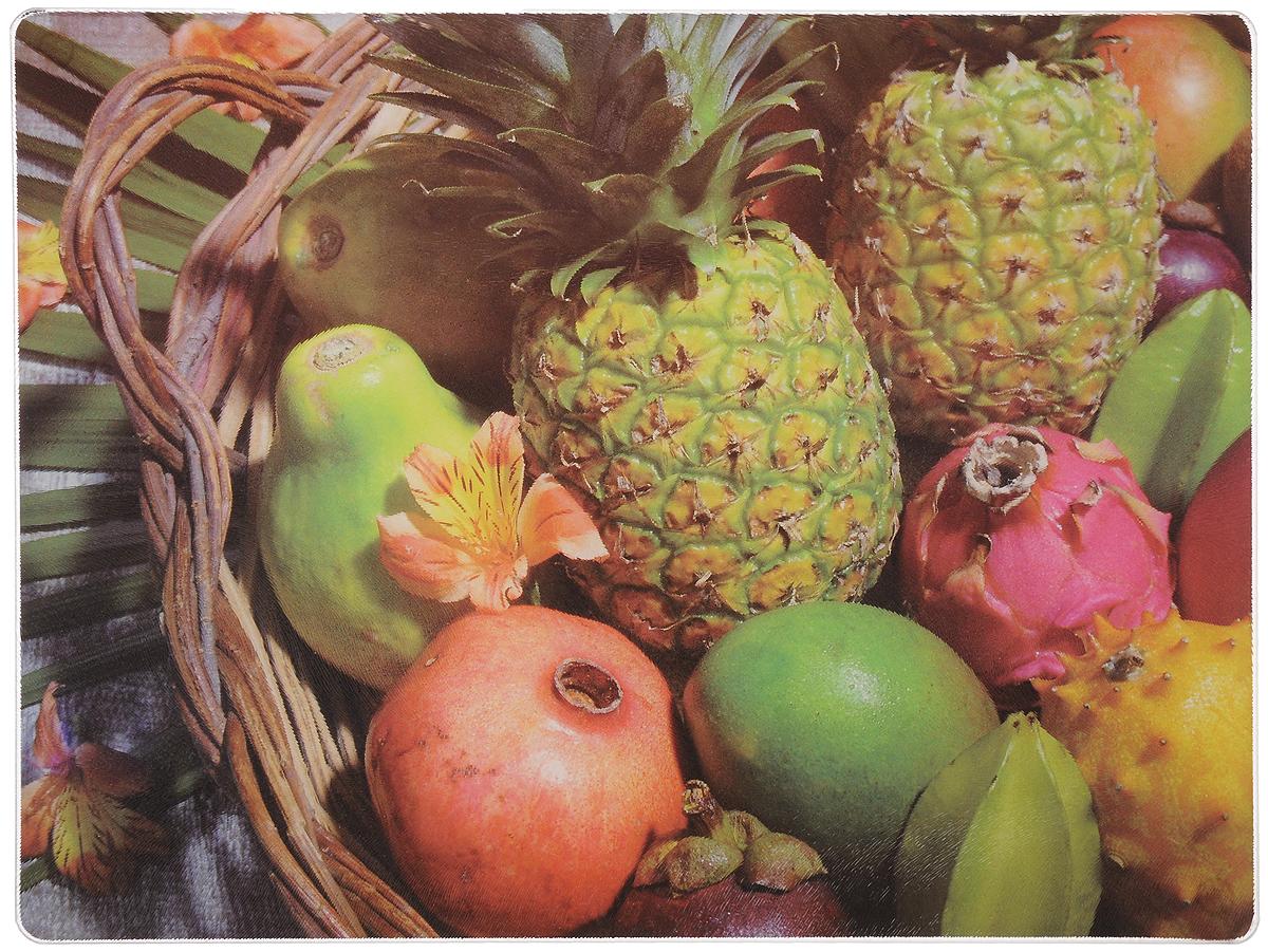 Доска разделочная Mayer & Boch Ананасы, гранат, манго, 40 x 30 см54 009312Разделочная доска Mayer & Boch Ананасы, гранат, манго, выполненная из высококачественного стекла, устойчива к повреждениям и не впитывает запахи. Она идеально подходит для разделки мяса, рыбы, приготовления теста и для нарезки любых продуктов. Гладкая поверхность предотвратит появление разводов, царапин и появление бактерий. Изделие оснащено силиконовыми ножками для предотвращения скольжения.Разделочная доска Mayer & Boch Ананасы, гранат, манго станет незаменимым аксессуаром на любой кухне. Можно мыть в посудомоечной машине.