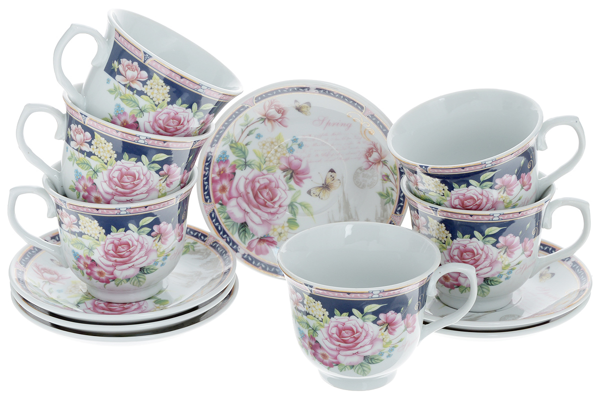 Набор чайный Loraine, 12 предметов. 25784115510Чайный набор Loraine состоит из шести чашек и шести блюдец. Изделия выполнены из высококачественного костяного фарфора и оформлены красивым цветочным рисунком и надписями. Такой набор дополнит сервировку стола к чаепитию. Благодаря изысканному дизайну и качеству исполнения, он станет замечательным подарком для ваших друзей и близких. Набор упакован в подарочную коробку. Объем чашки: 220 мл. Диаметр чашки по верхнему краю: 9 см. Высота чашки: 7,5 см. Диаметр блюдца: 13,2 см.Высота блюдца: 2,2 см.