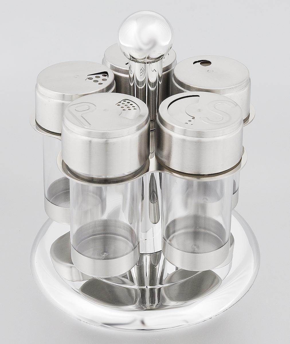 Набор банок для специй Mayer & Boch, на подставке, 6 предметовFD-59Набор Mayer & Boch состоит из трех универсальных емкостей для специй, перечницы и солонки, расположенных на вращающейся металлической подставке. Банки для хранения выполнены из высококачественной нержавеющей стали и прозрачного пластика. Крышки емкостей снабжены резьбой, которая обеспечивает плотное прилегание крышки, а также позволяет долгое время сохранить специи свежими. Набор Mayer & Boch - это оригинальное решение для современной кухни.Объем банок: 100 мл.Диаметр банок: 5,2 см.Высота банок: 11 см.Размер подставки: 16 х 16 х 18,5 см.