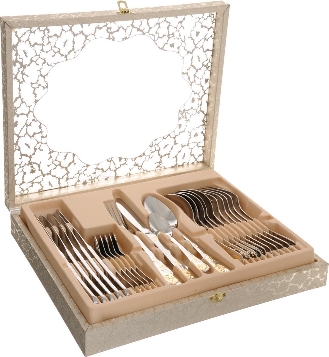 Набор столовых приборов Mayer&Boch, 24 предмета. 23352115510Набор Mayer & Boch состоит из 24 предметов: 6 столовых ножей, 6 столовых ложек, 6 вилок и 6 чайных ложек. Приборы выполнены из высококачественной нержавеющей стали 18/10. Ручки приборов украшены золотистым рельефным рисунком и зеркальной полировкой. Прекрасное сочетание контрастного дизайна и удобство использования изделий придется по душе каждому. Набор столовых приборов Mayer & Boch подойдет для сервировки стола как дома, так и на даче и всегда будет важной частью трапезы, а также станет замечательным подарком. Длина ножа: 23 см. Длина лезвия ножа: 6,5 см.Длина столовой ложки: 20,5 см.Размер рабочей части столовой ложки: 6,5 х 4,5 см.Длина вилки: 20,5 см. Размер рабочей части вилки: 5 х 2,5 см.Длина чайной ложки: 14,5 см. Размер рабочей части чайной ложки: 4,5 х 3 см.