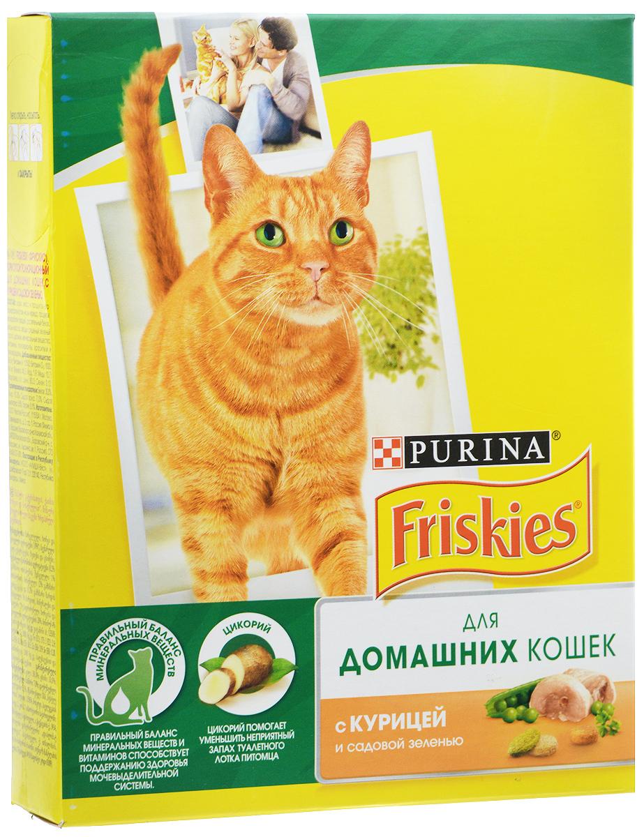 Корм сухой Friskies для домашних кошек, с курицей и садовой зеленью, 300 г0120710Сухой корм Friskies является полнорационным питанием для взрослых кошек и разработан специально для питомцев, большую часть времени живущих дома. Такой корм позволяет снизить образование комочков шерсти. Кроме того, в нем содержится садовая зелень, которая так нравится кошкам. Уникальный характер вашего питомца создает особенную атмосферу вашего дома, добавляя радость в вашу жизнь. Ему необходимо полнорационное и сбалансированное питание, изготовленное из ингредиентов высокого качества, помогая поддерживать здоровье и жизненную энергию вашей кошки. Корм Friskies разработан экспертами Nestle Purina PetCare на базе 85-летнего опыта в области питания для животных. Правильный баланс минеральных веществ и витаминов способствует поддержанию здоровья мочевыделительной системы. Цикорий помогает уменьшить неприятный запах туалетного лотка питомца. Клетчатка способствует сокращению количества комочков шерсти, которые появляются в результате частого умывания.Товар сертифицирован.