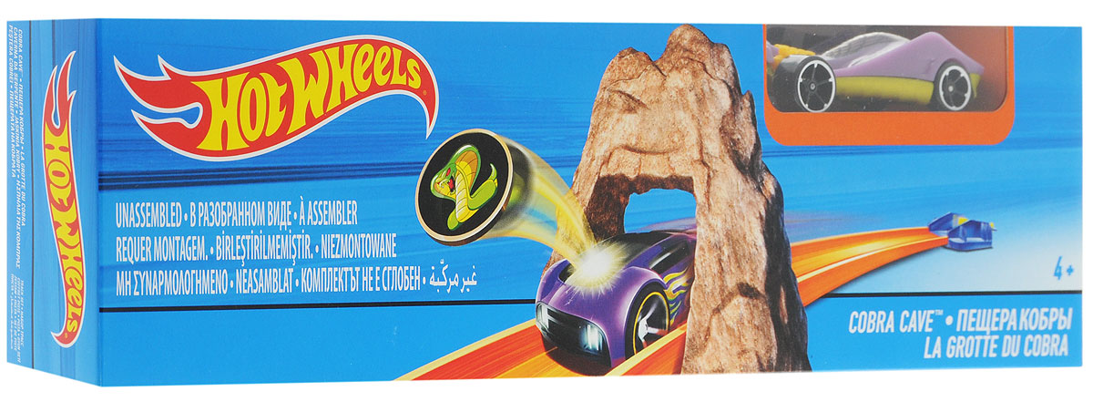 """Гоночный трек Hot Wheels """"Пещера кобры"""" обязательно понравится вашему ребенку и не позволит ему скучать. В наборе классическая трасса с трамплином. Отправь свою машинку в захватывающий дух полет! Устройте соревнование машинок, какая пролетит дальше? Ребенок будет с полнейшим восторгом наблюдать, как машинка проносится по скоростной трассе сквозь каменную пещеру кобры. Ваш ребенок часами будет играть с набором, придумывая различные истории и устраивая соревнования. Порадуйте его таким замечательным подарком!"""