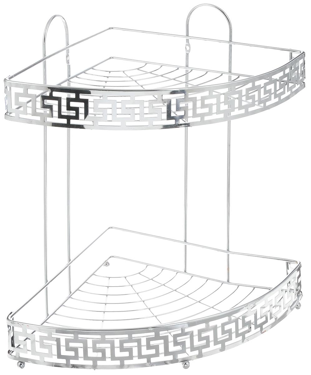 Полка для ванной комнаты Mayer & Boch, угловая, 2-ярусная, 34 х 25 х 34,5 см531-105Угловая 2-ярусная полка Mayer & Boch изготовлена из высококачественного металла с хромированным покрытием. Полка отлично подойдет для хранения различных ванных принадлежностей. Она впишется практически в любой интерьер и поможет эффективно организовать пространство.Изделие крепится к стене при помощи саморезов (входят в комплект).Размер яруса: 34 х 25 х 4 см.Общий размер полки: 34 х 25 х 34,5 см.