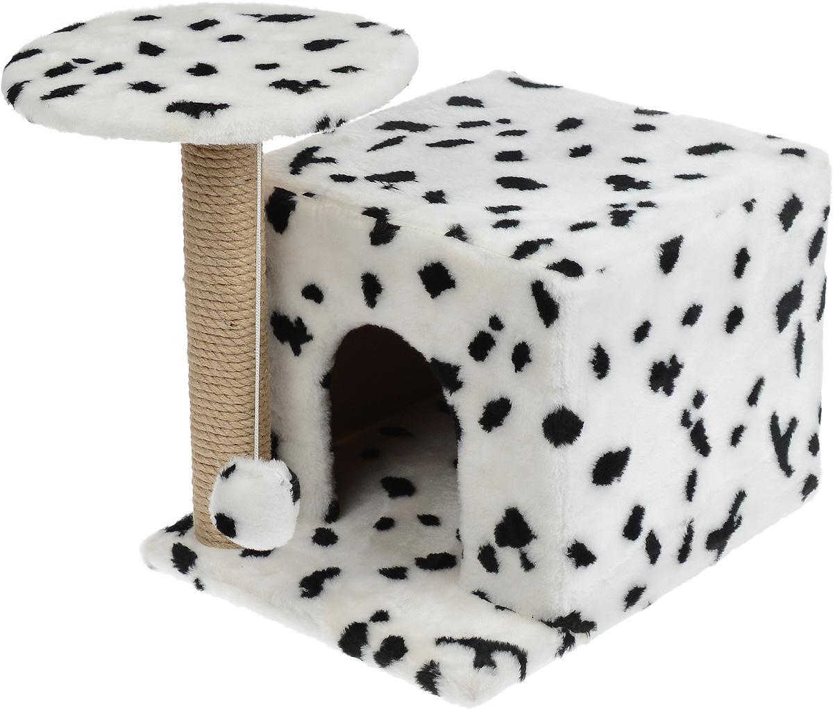 Игровой комплекс для кошек Меридиан, с когтеточкой и домиком, цвет: белый, черный, бежевый, 35 х 45 х 45 смД132 ДИгровой комплекс для кошек Меридиан выполнен из высококачественного ДВП и ДСП и обтянут искусственным мехом. Изделие предназначено для кошек. Ваш домашний питомец будет с удовольствием точить когти о специальный столбик, изготовленный из джута. А отдохнуть он сможет либо на полке, находящейся наверху столбика, либо в расположенном внизу домике. Также на полке имеется подвесная игрушка, которая привлечет внимание кошки к когтеточке.Общий размер комплекса (с учетом выступающих частей): 59 х 45 х 44 см.Диаметр полки: 31 см.Размер домика: 45 х 35 х 32 см.