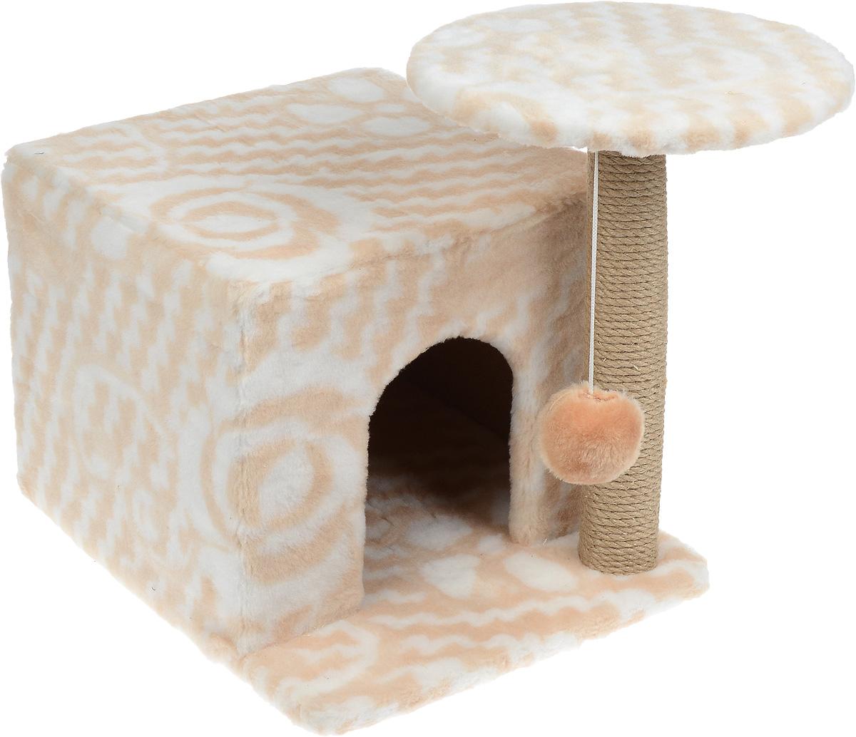 Игровой комплекс для кошек Меридиан, с когтеточкой и домиком, цвет: белый, бежевый, 35 х 45 х 45 см0120710Игровой комплекс для кошек Меридиан выполнен из высококачественного ДВП и ДСП и обтянут искусственным мехом. Изделие предназначено для кошек. Ваш домашний питомец будет с удовольствием точить когти о специальный столбик, изготовленный из джута. А отдохнуть он сможет либо на полке, находящейся наверху столбика, либо в расположенном внизу домике. Также на полке имеется подвесная игрушка, которая привлечет внимание кошки к когтеточке.Общий размер комплекса (с учетом выступающих частей): 59 х 45 х 44 см.Диаметр полки: 31 см.Размер домика: 45 х 35 х 32 см.