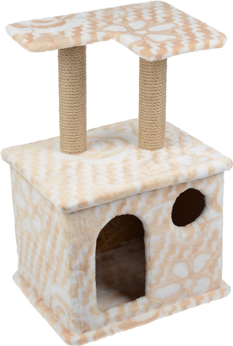Игровой комплекс для кошек Меридиан, с фигурной полкой и домиком, цвет: бежевый, белый, 45 х 36 х 69 смД114 ДИгровой комплекс для кошек Меридиан выполнен из высококачественного ДВП и ДСП и обтянут искусственным мехом. Изделие предназначено для кошек. Ваш домашний питомец будет с удовольствием точить когти о специальный столбик, изготовленный из джута. А отдохнуть он сможет либо на полке, находящейся наверху столбика, либо в расположенном внизу домике.Общий размер: 45 х 36 х 69 см.Размер полки: 40 х 31 см.Размер домика: 45 х 36 х 37 см.