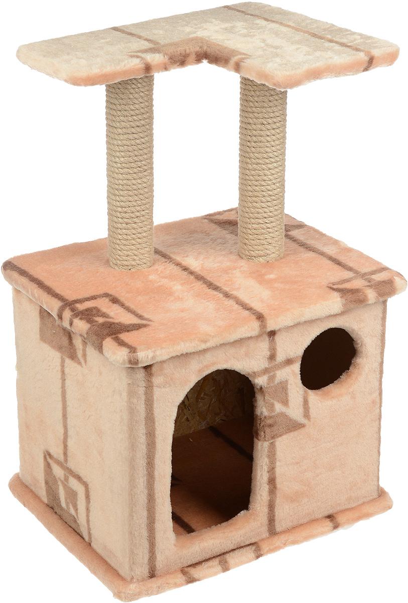 Игровой комплекс для кошек Меридиан, с фигурной полкой и домиком, цвет: коричневый, бежевый, 45 х 36 х 69 см0120710Игровой комплекс для кошек Меридиан выполнен из высококачественного ДВП и ДСП и обтянут искусственным мехом. Изделие предназначено для кошек. Ваш домашний питомец будет с удовольствием точить когти о специальный столбик, изготовленный из джута. А отдохнуть он сможет либо на полке, находящейся наверху столбика, либо в расположенном внизу домике.Общий размер: 45 х 36 х 69 см.Размер полки: 40 х 31 см.Размер домика: 45 х 36 х 37 см.