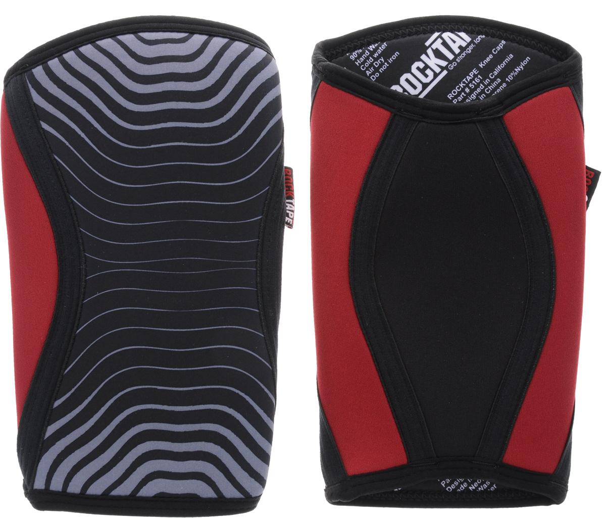 Наколенники Rocktape KneeCaps, цвет: красный, серый, черный, толщина 5 мм. Размер MRTKnCps-Rd-5-MRocktape KneeCaps - это компрессионные наколенники для тяжелой атлетики/CrossFit. Наколенники созданы специально, чтобы обеспечить компрессионный и согревающий эффект, а также придать стабильность коленному суставу для выполнения функциональных движений, таких как становая тяга, пистолет, приседания со штангой.В отличие от аналогов, наколенники Rocktape KneeCaps более высокие и разработаны специально для компрессии VMO (косой медиальной широкой мышцы бедра) в месте ее прикрепления над коленной чашечкой, чтобы обеспечить надлежащую стабилизацию колена и контроль. Помимо стабилизации, они создают компрессионный и согревающий эффект, что улучшает кровоток.Толщина: 5 мм.Обхват колена: 34-37 см.