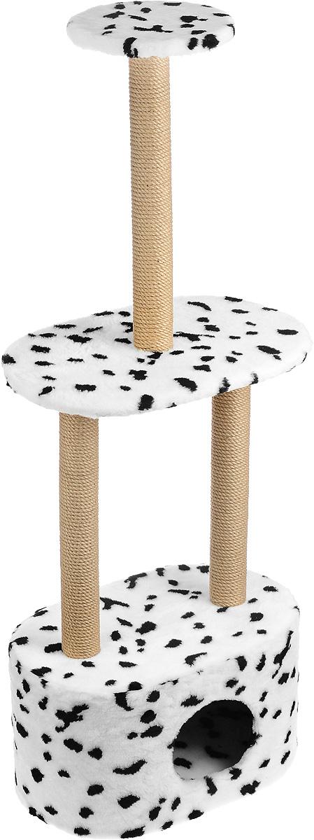 Игровой комплекс для кошек Меридиан, 3-ярусный, с домиком и когтеточкой, цвет: белый, черный, бежевый, 51 х 33 х 131 см0120710Игровой комплекс для кошек Меридиан выполнен из высококачественного ДВП и ДСП и обтянут искусственным мехом. Изделие предназначено для кошек. Комплекс имеет 3 яруса. Ваш домашний питомец будет с удовольствием точить когти о специальные столбики, изготовленные из джута. А отдохнуть он сможет либо на полках, либо в расположенном внизу домике.Общий размер: 51 х 33 х 131 см.Размер домика: 51 х 33 х 28 см.Размер большой полки: 51 х 33 см.Диаметр малой полки: 25 см.